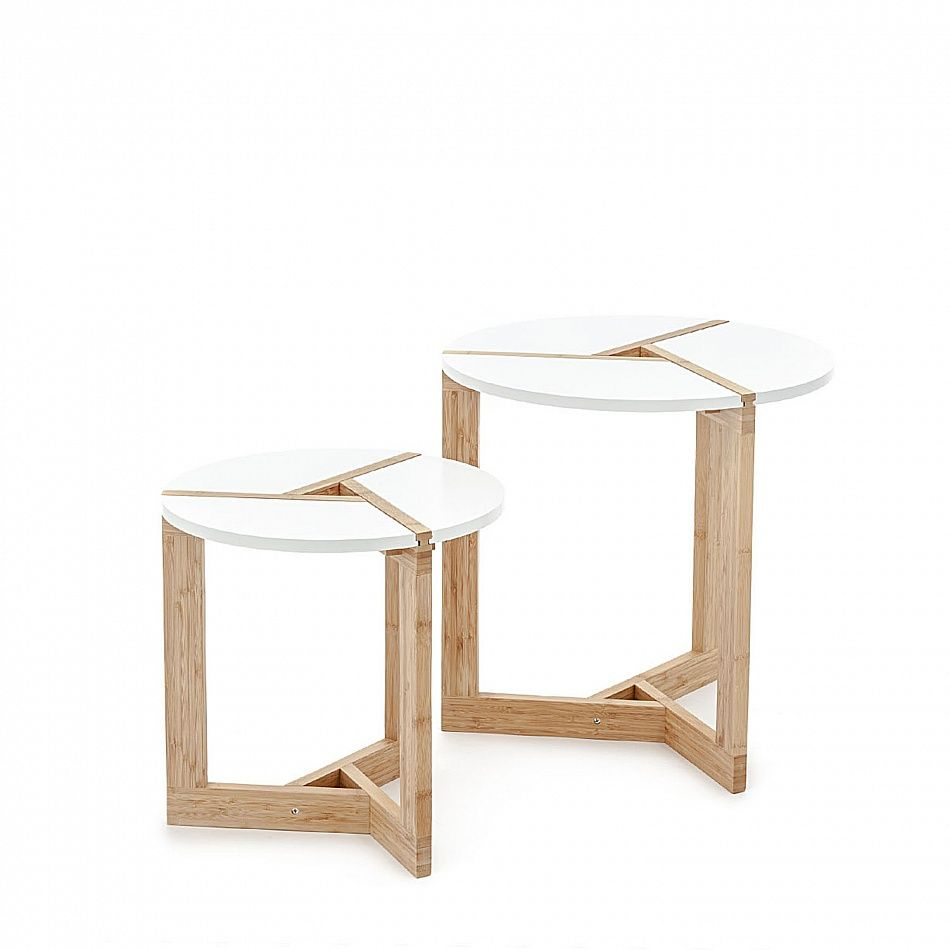 Round wooden 2 piece side table set Warm by Tomasucci, natural solid ...