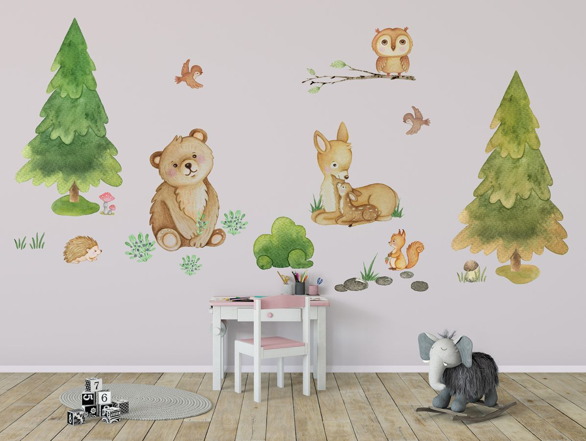 Woodland Wall Decal Girl Forest Animal Decal Woodland Wall Sticker Woodland Nursery Decal Woodland Animals Decal Woodland Animal Wall Decal In 2020 Animal Wall Decals Woodland Wall Decals Woodland Nursery Decals