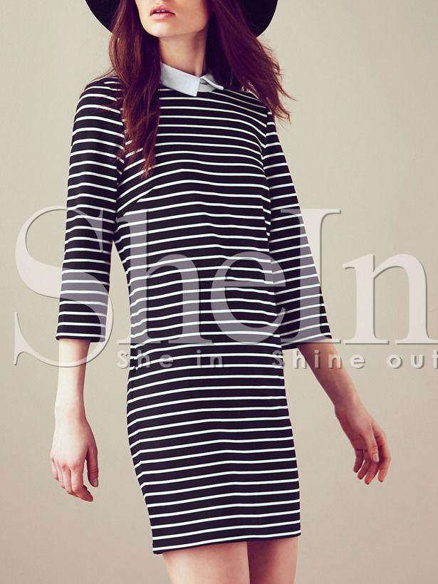 Vestido manga larga solapa rayas-(Sheinside)