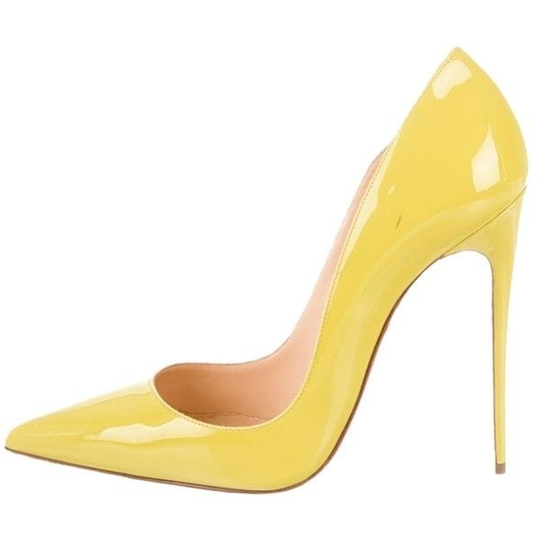new products a6e54 4c93d Pre-owned Christian Louboutin Yellow Pumps ($425) ❤ liked ...