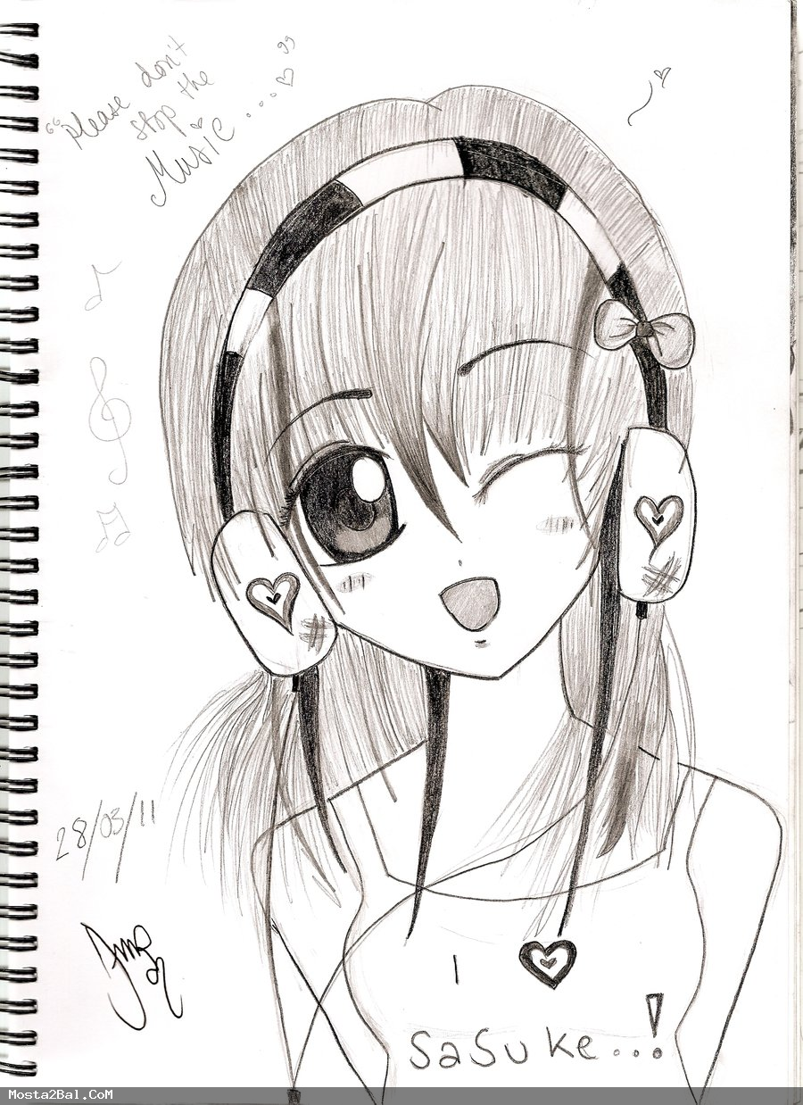 Anime Emo Girl with Headphones Cartoon Girls with Music