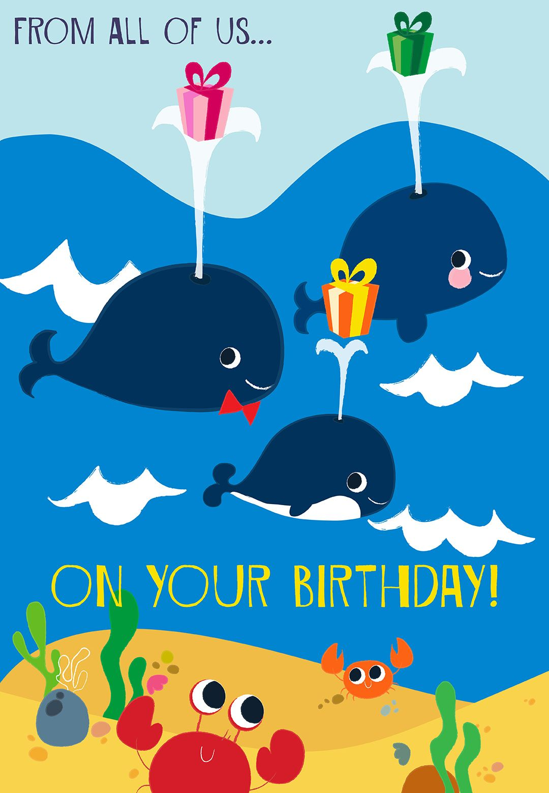 cute beach themed greeting card printable for birthdays by greetings island via greetingisland. Black Bedroom Furniture Sets. Home Design Ideas