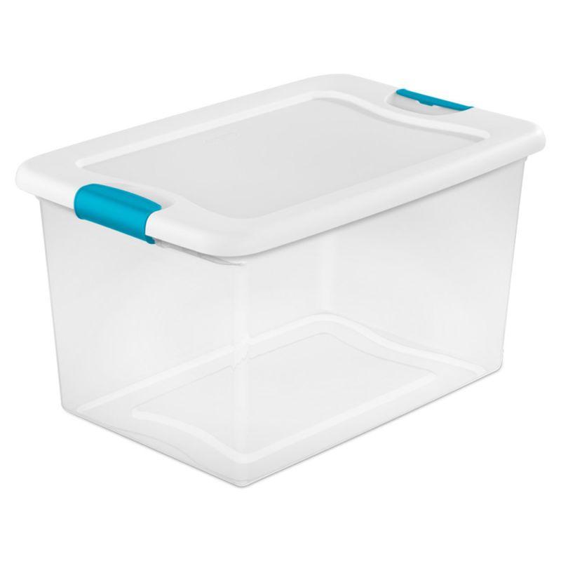 Sterilite 64 Quart Plastic Storage Box Bins Totes Clear W Blue