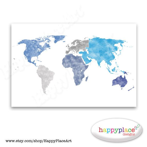 Huge world map without borders world map wall art poster with huge world map without borders world map wall art poster with continents educational world map personalisation shades of blue wall art sciox Images