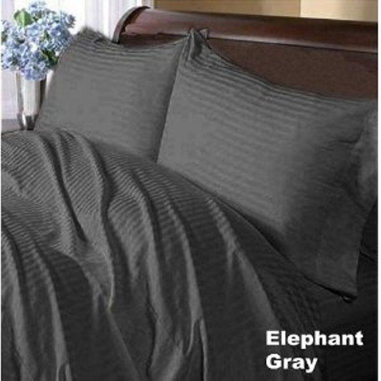 "1000 TC Egyptian Cotton /""Elephant Gray/"" Striped Extra Deep Pocket Bedding Items"