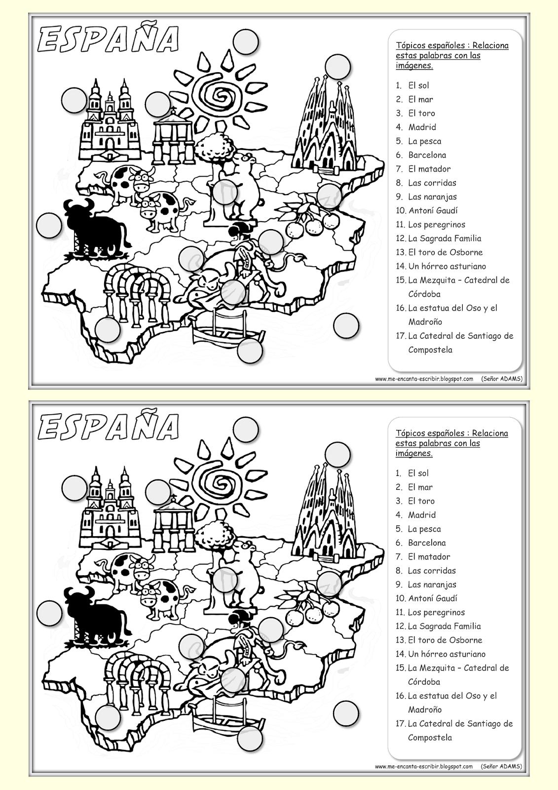 Esta Ficha Ilustra Algunos Tópicos Y Lugares Turísticos De España Lee La Lista De Palabras Y Relaciónalas Enseñando Español Aprender Español Clase De Español