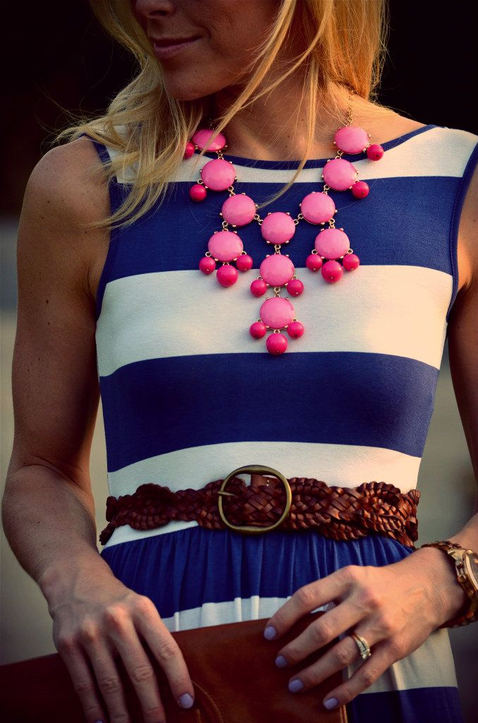 Love the bubble pink necklace with the navy/stripe:)