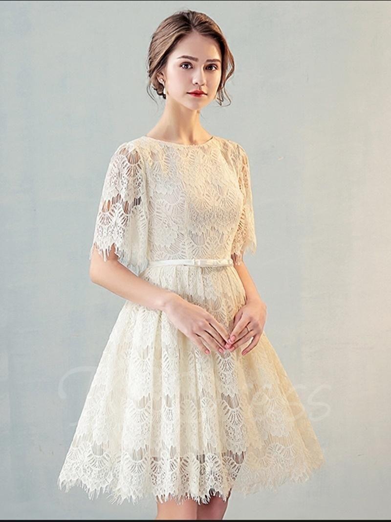 Tbdress tbdress scoop aline lace bowknot lace sashes short