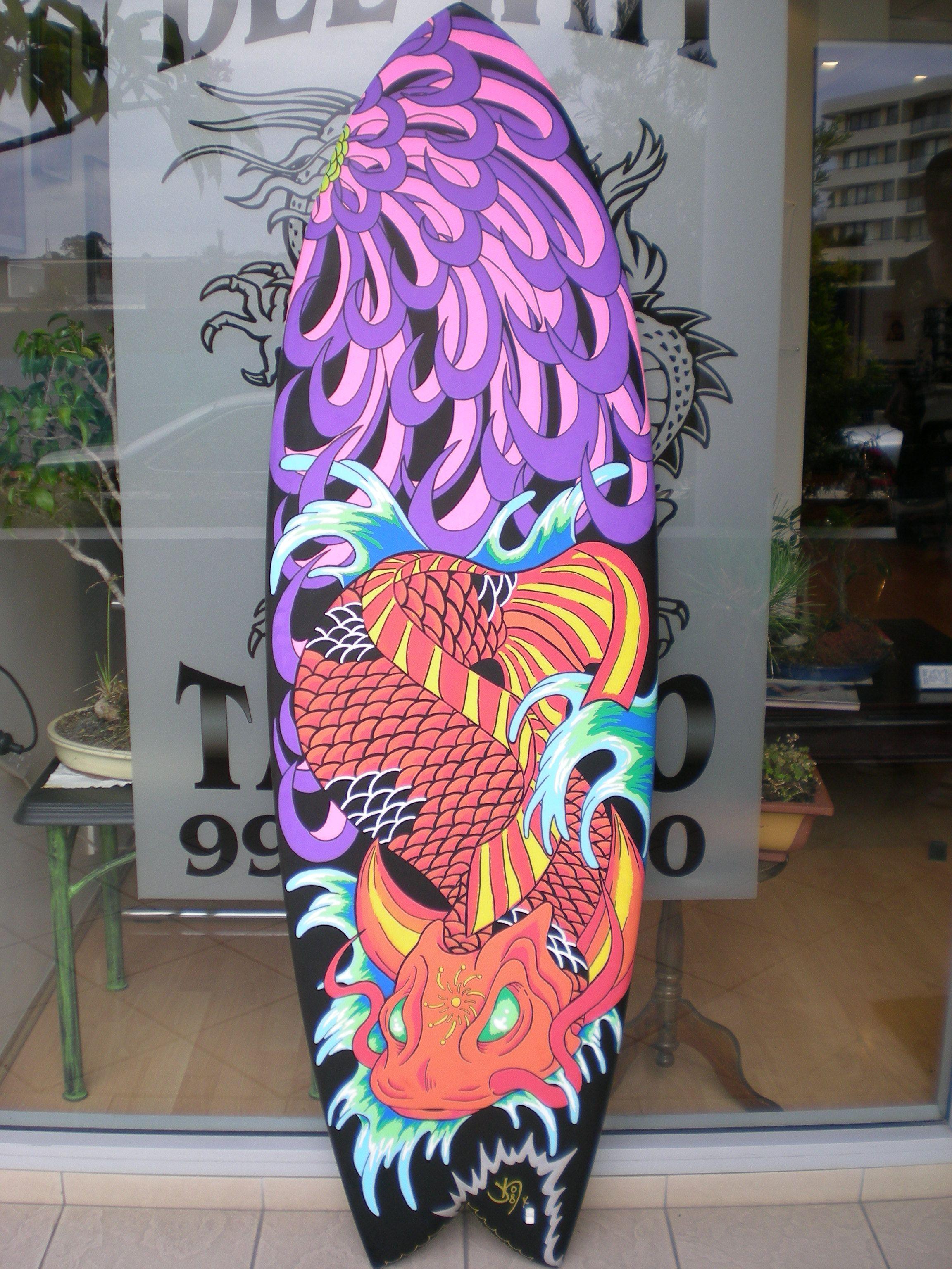 Australian Art Surfboard Designs - Koi & Chrysanthemum Surfboard -
