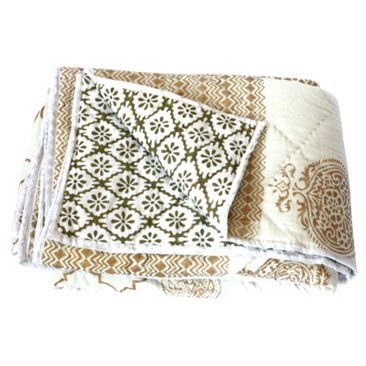 Check out this item at One Kings Lane! Reversible Print Quilt, Ivory