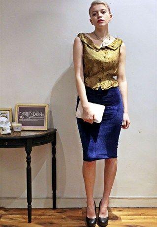 Vintage+50's+Gold+Bronze+Blouse