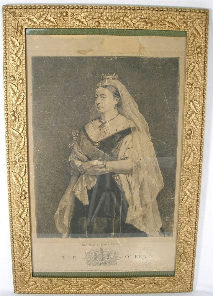ANTIQUE HER MAJESTY QUEEN VICTORIA STEEL ENGRAVED PRINT CARVED ...
