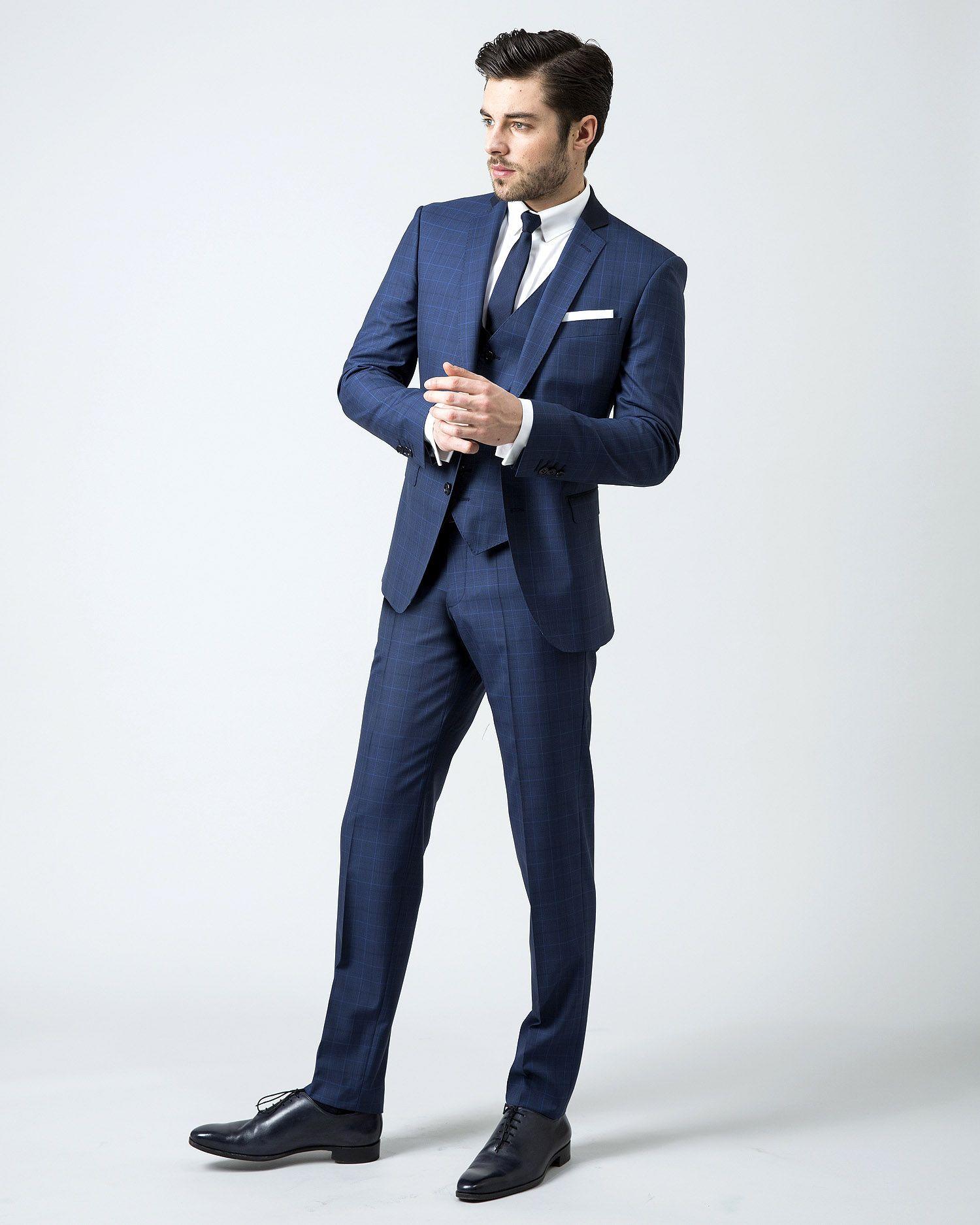 Populaire Costume 3 pièces prince de galles bleu | Slim-Stylish-Suits  VU18