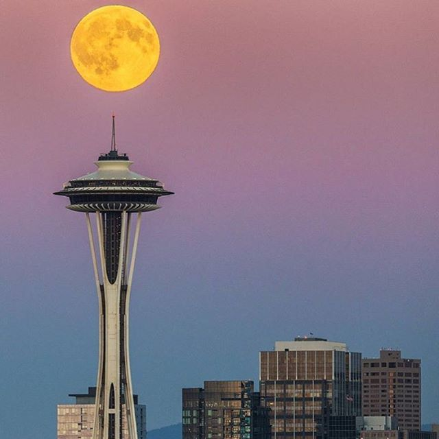 Today the moon aligned perfectly with the space needle during our beautiful sunset.  Thank you @maralphoto for the beautiful capture  #emeraldcity #seattle #pnw
