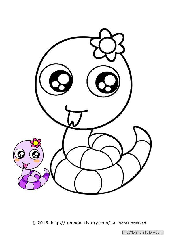 동물 색칠공부 프린트 학습지 Snake Coloring Page 2020 헬로키티