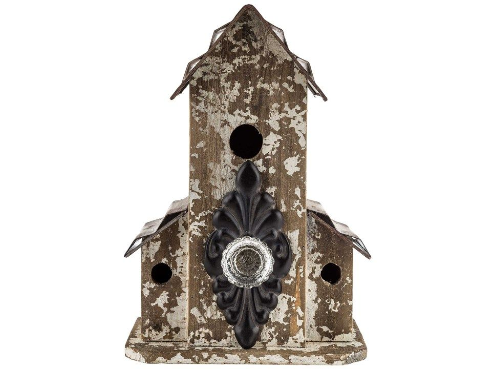 Rustic Wood Birdhouse with Clear Doorknob