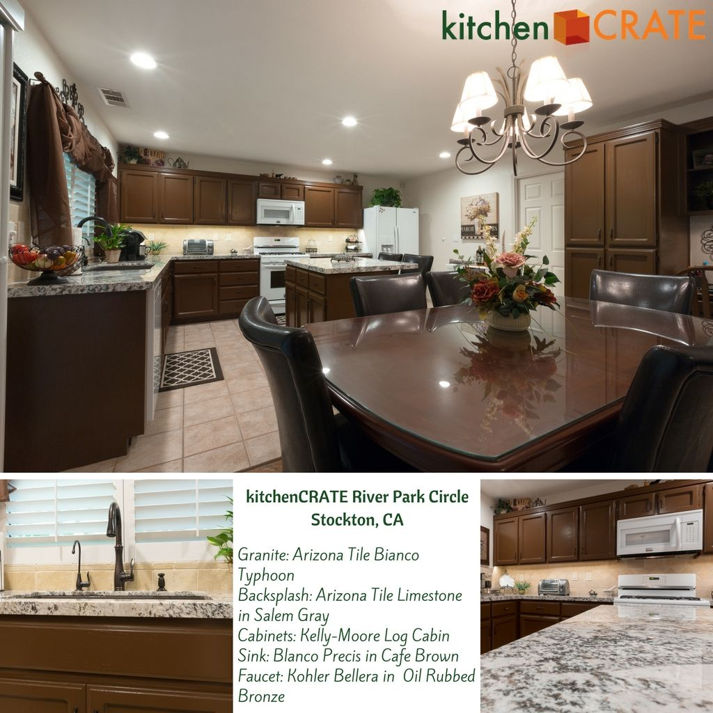 Kitchencrate River Park Circle Complete Stockton Ca Rich Chocolate Cabinets Bianco Typhoon Granite And A Kitchen Remodel River Park Refinishing Cabinets