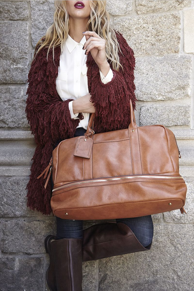 6969c8f039f Travel in style  This chic cognac weekender is the perfect carry-on bag  (and has a bottom compartment that s great for shoes)!