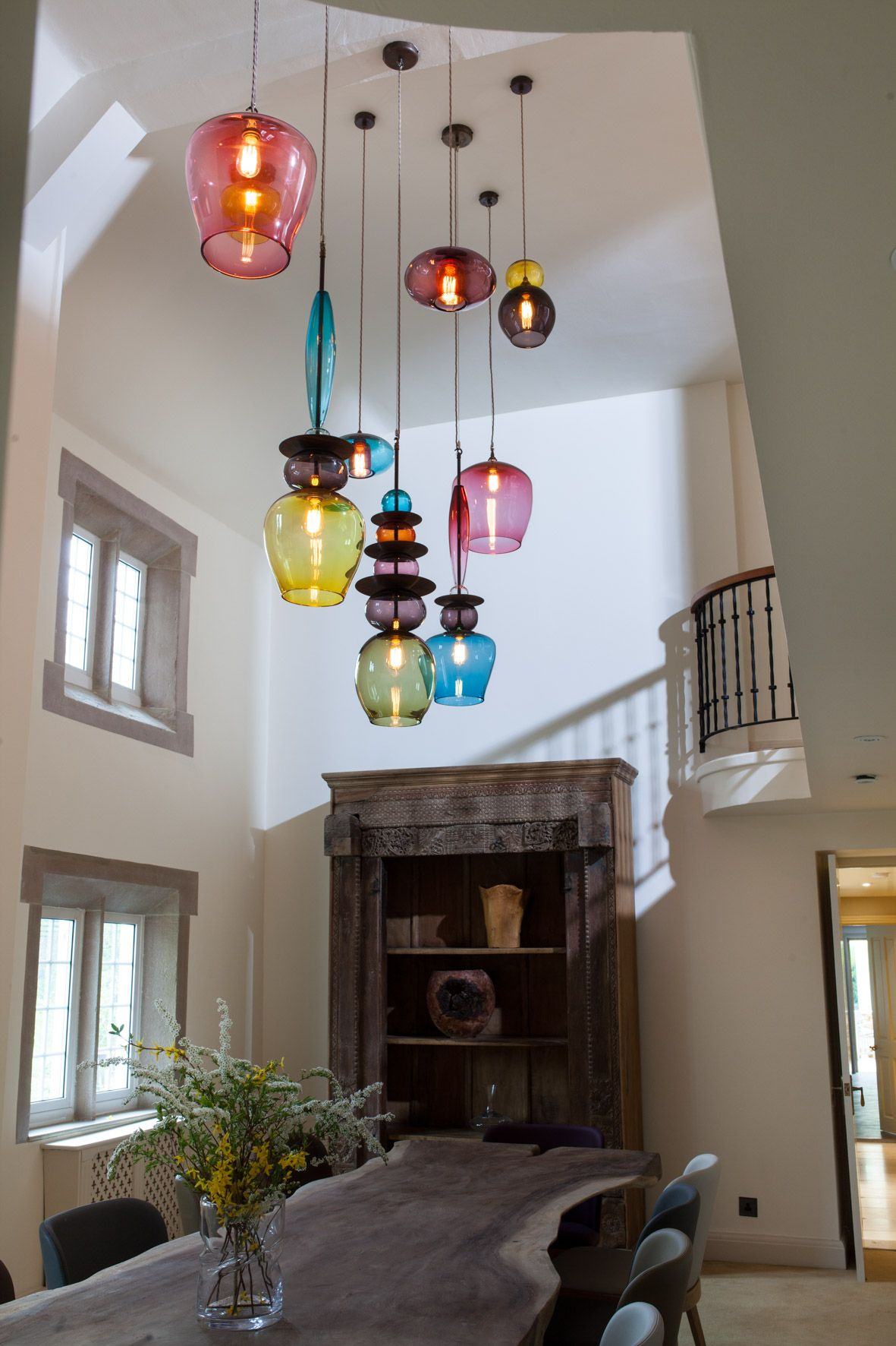 Contemporary dining room coloured glass pendant lights