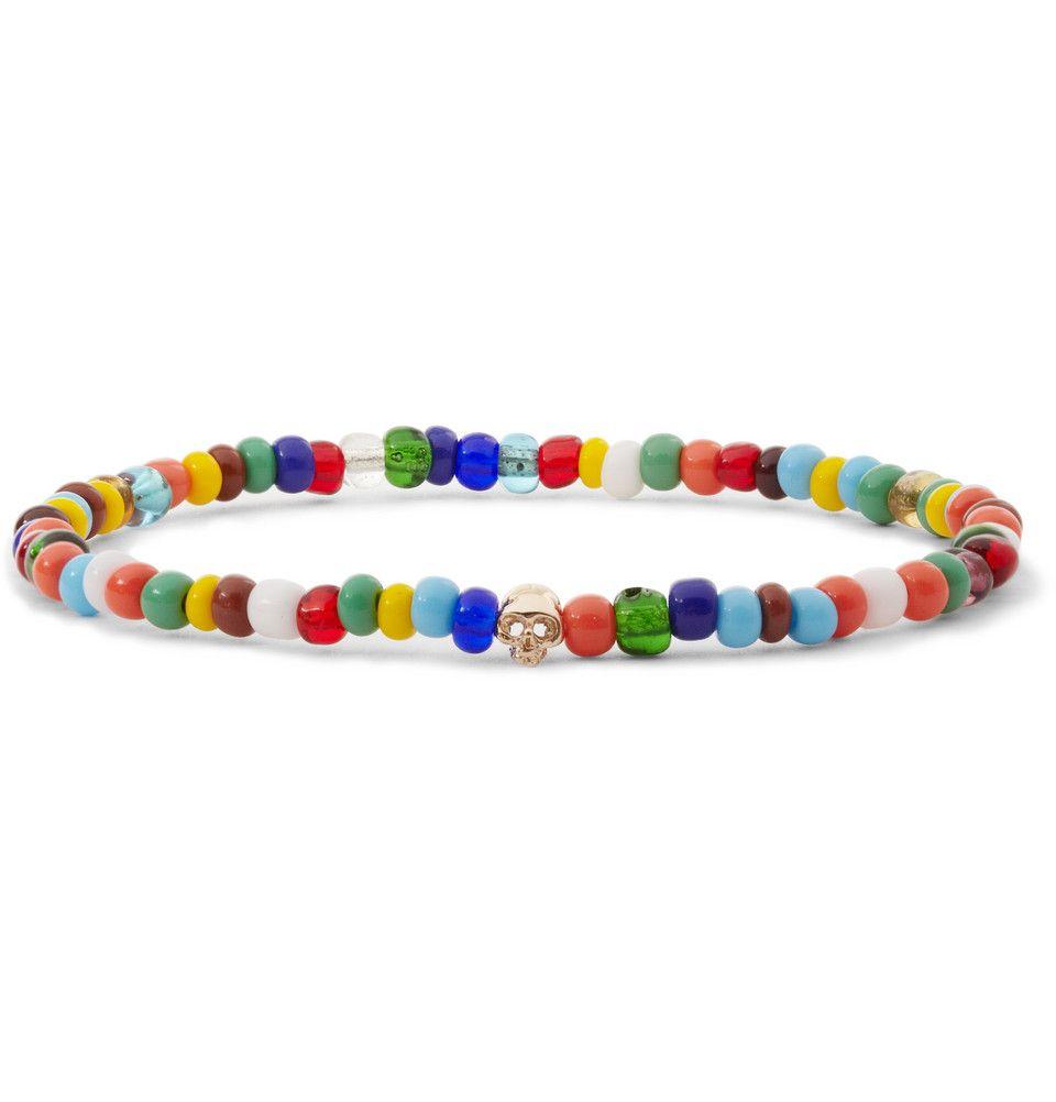 Luis morais gold skull and bead bracelet mr porter c u f f s