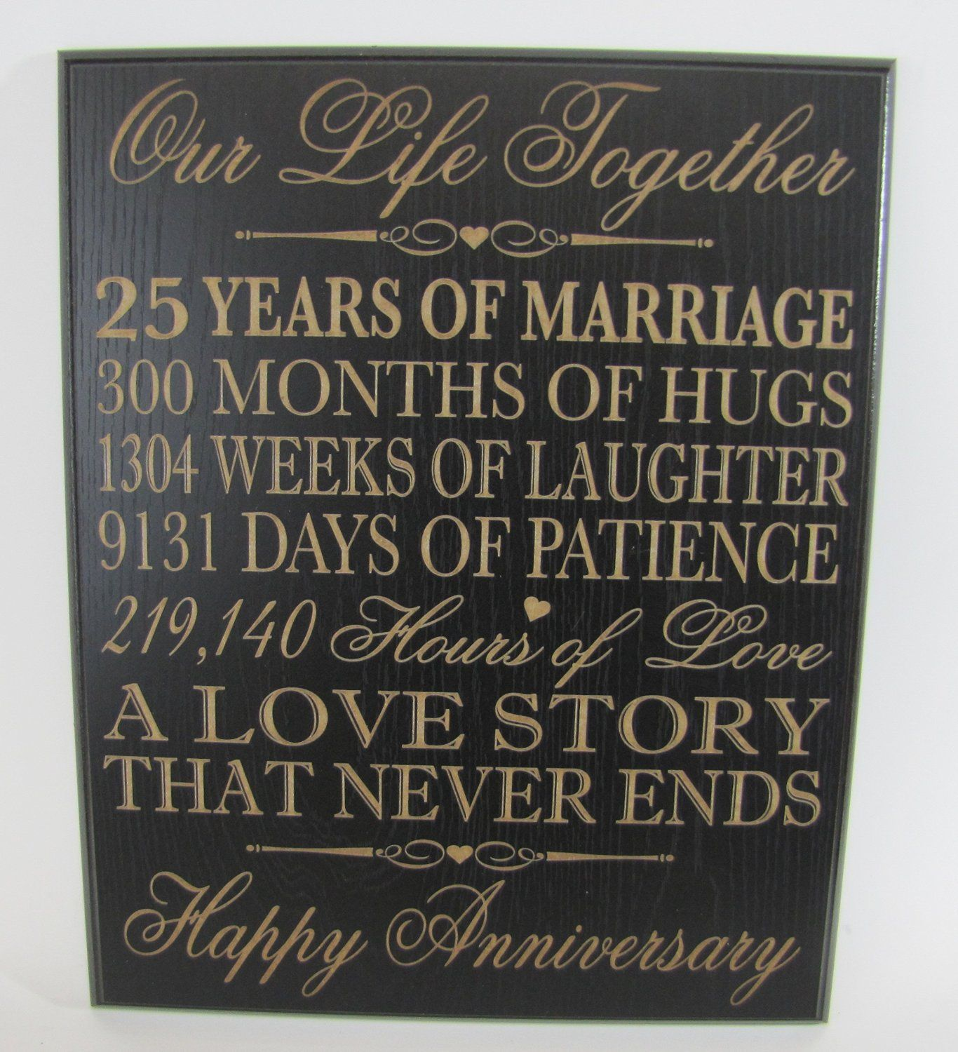 25th Wedding Anniversary Wall Plaque Gifts