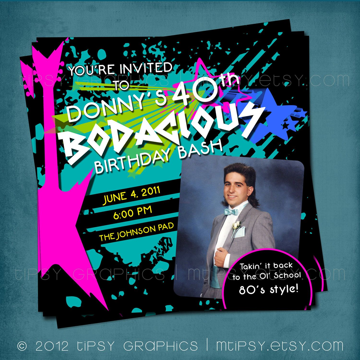 Bodacious Birthday Bash Totally Awesome 80s Party Invite Halfway to