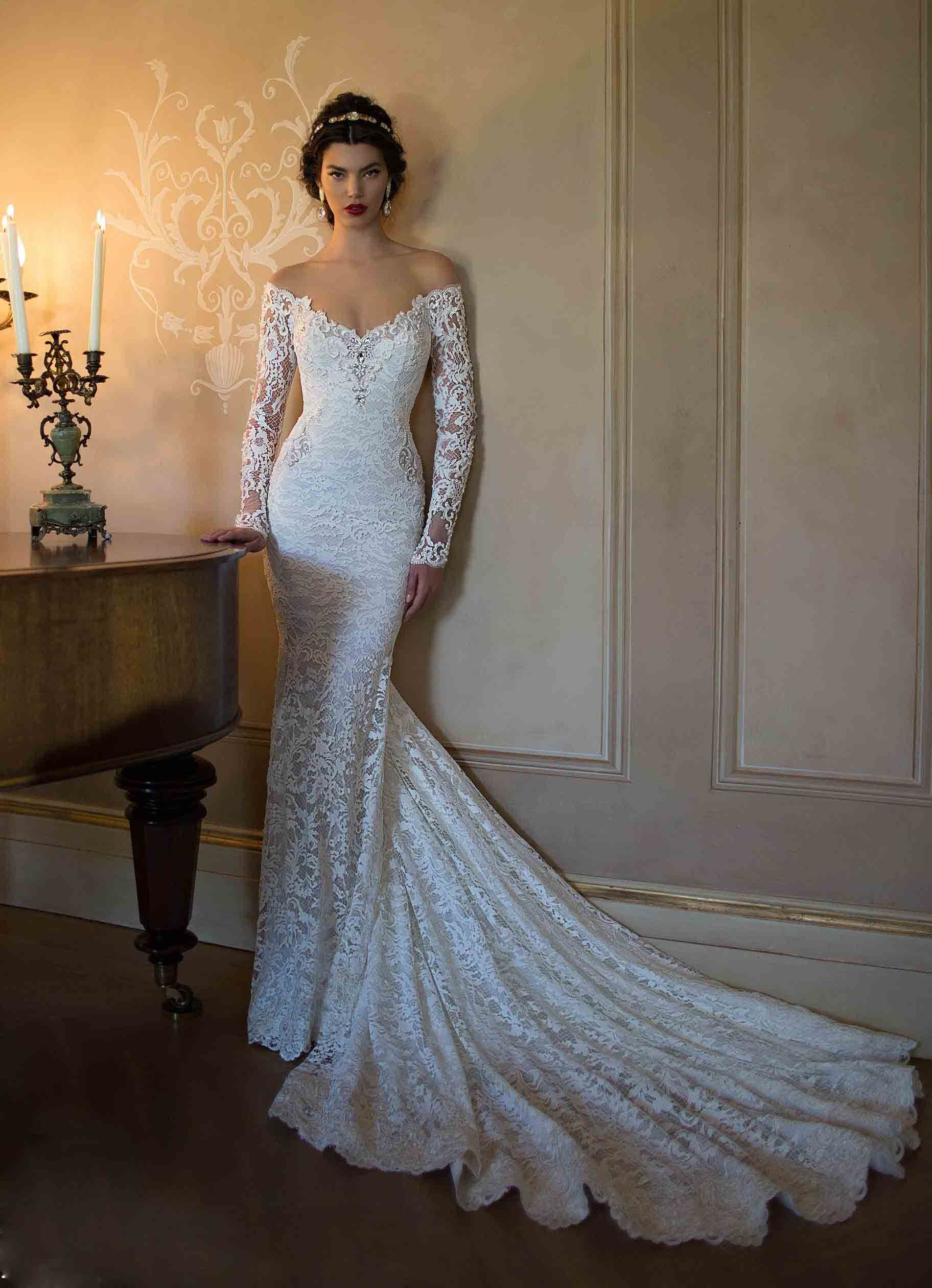Long Sleeve Lace Trumpet Wedding Dresses 2015