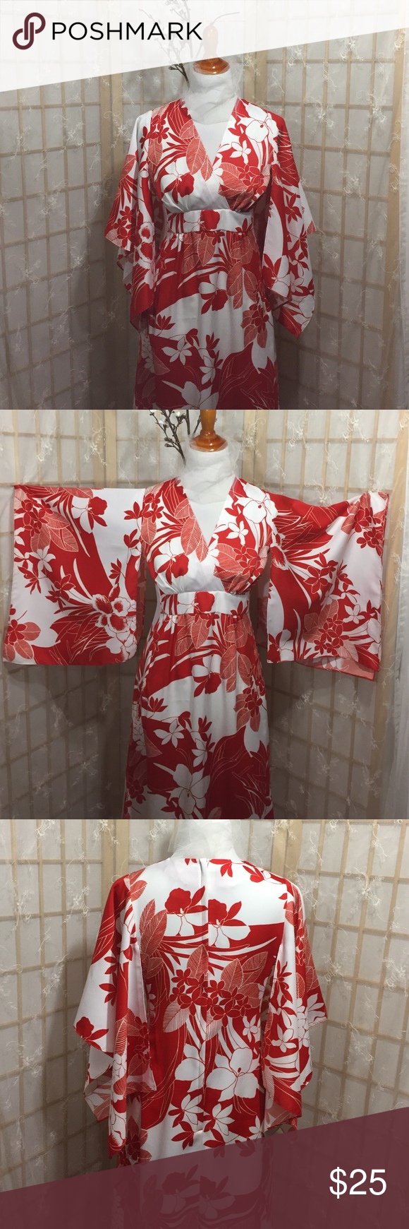 Dress Authentic Hawaiian Moo Moo dress!  perfect vacation outfit from smoke free home  zippered back, machine washable. From top of shoulder to bottom hem this dress measures 50 inches, it was hemmed approximately 2inches and could very easily be taken down (see pic) excellent condition sun fashions of hawaii Dresses Maxi