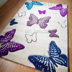 Select Butterfly Cream Purple Teal Modern Wilton Rugs 80x150cm