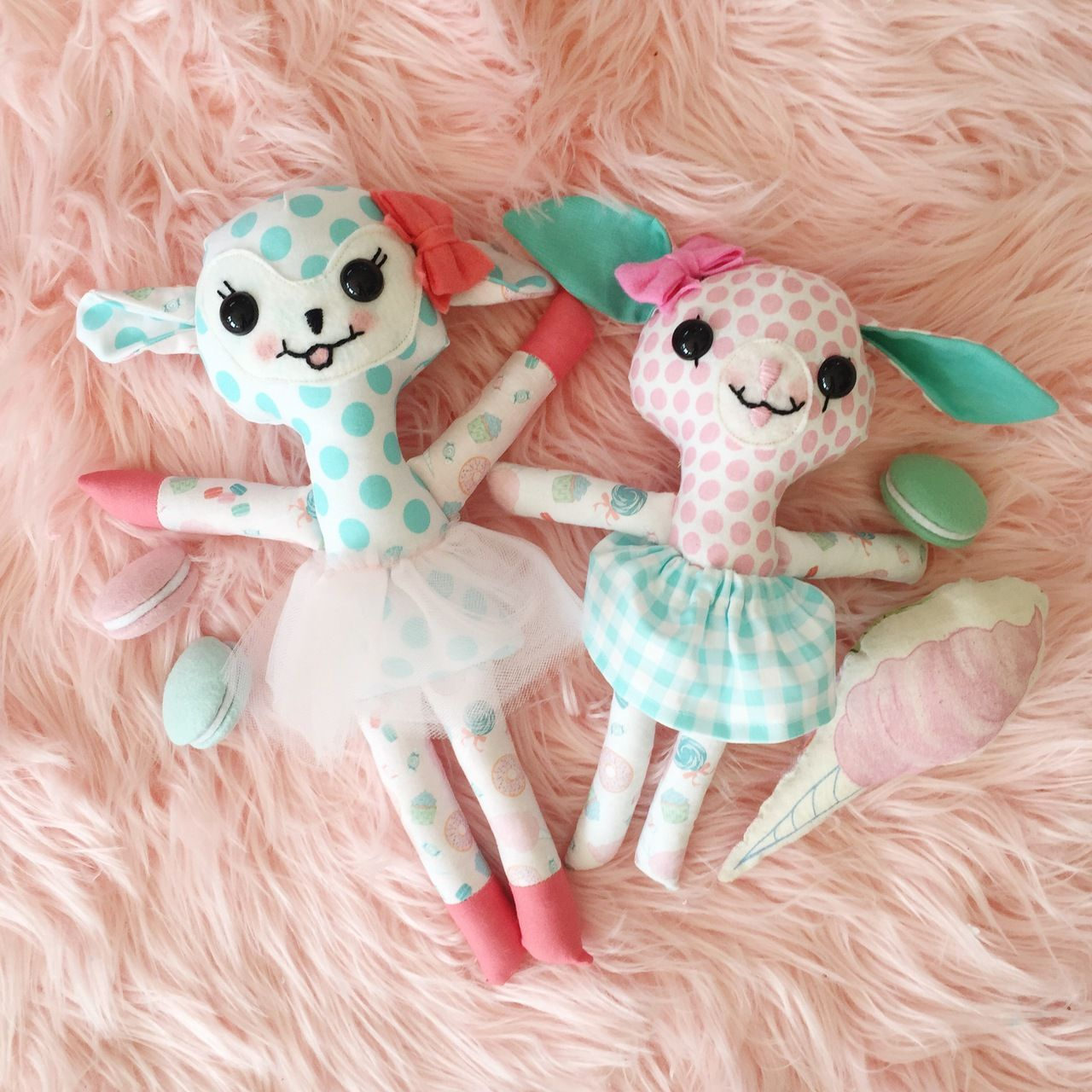 """Mini Blue Dot with White Sweet Treats 12"""" Flora Fawn Sweetie with bow and tutu"""
