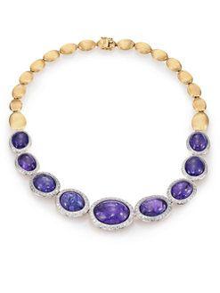 Marco Bicego - Unico Tanzanite, Diamond & 18K Yellow Gold Collar Necklace