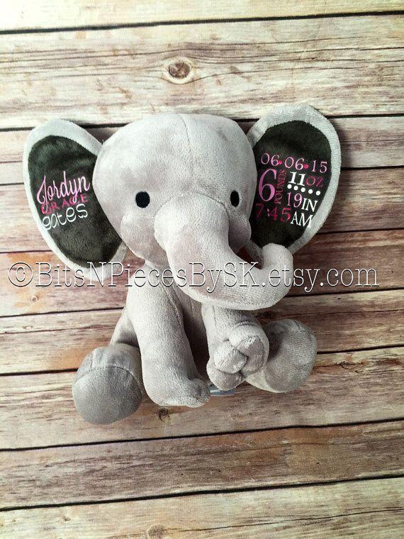 Personalized stuffed elephant birth by bitsnpiecesbysk on etsy personalized stuffed elephant birth by bitsnpiecesbysk on etsy negle Images