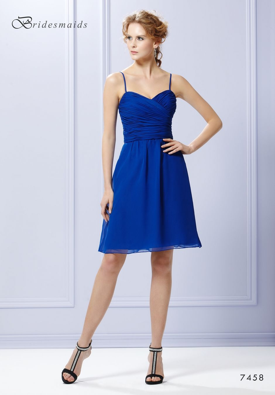 Eden a short chiffon bridesmaid dress with ruched bodice a