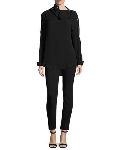 a0613b7868 Theory Dresses & Women's Clothing at Neiman Marcus. -6WTA Theory Brilivna  Classic Georgette Button Blouse, Black Tennyson B Pioneer Pants, Black