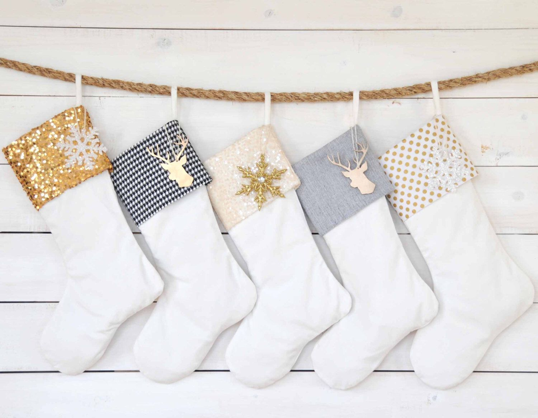 Personalized Christmas Stocking - Velvet Stockings - Set of 5 - Gold ...