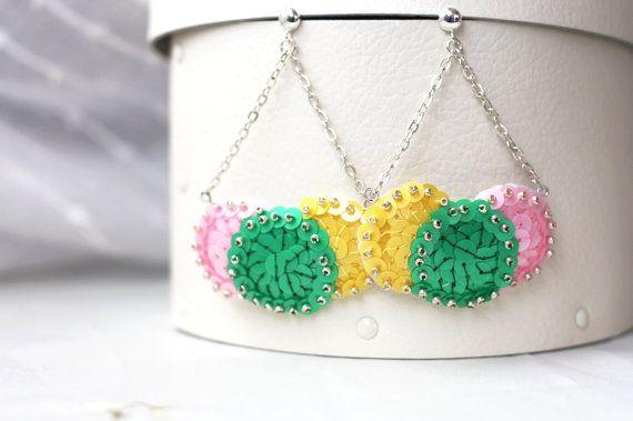 Dangle chain earrings stud mod earrings. Pink yellow green !