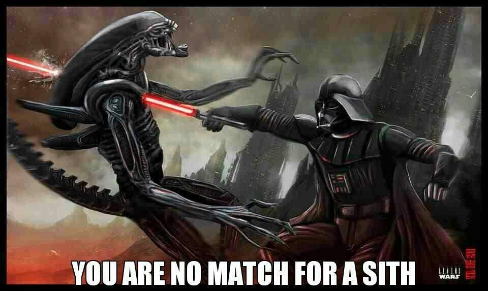 Darth Vader slays alien.