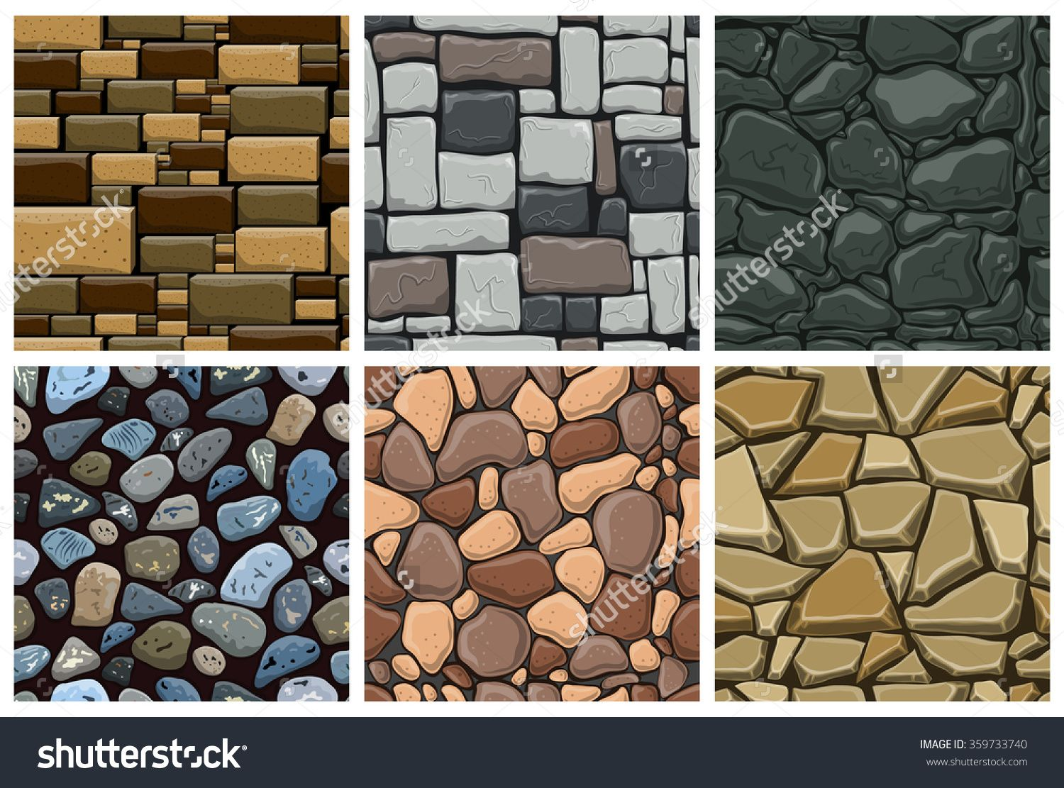 Set Of Seamless Pattern With Decorative Stones. Vector ...