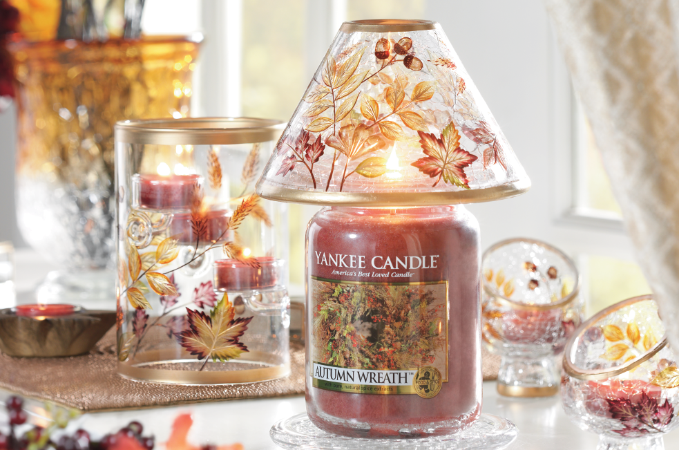 Fall Leaves And Acorns On Crackle Glass Make An Elegant Autumn