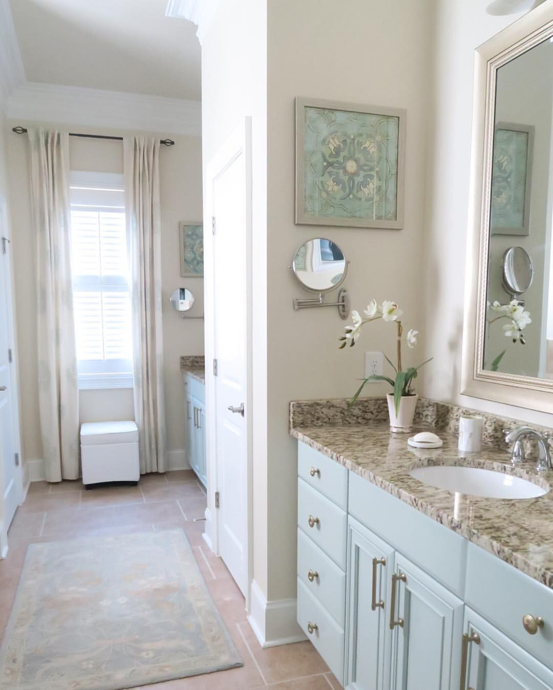 mint green master bathroom painted cabinets and brushed gold cabinet hardware