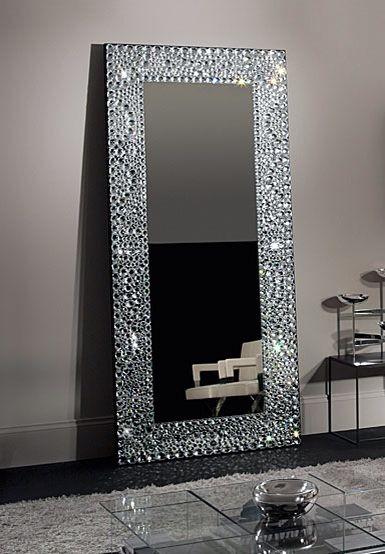 Crystal grey mirror decor ah licious pinterest for Fancy floor mirrors
