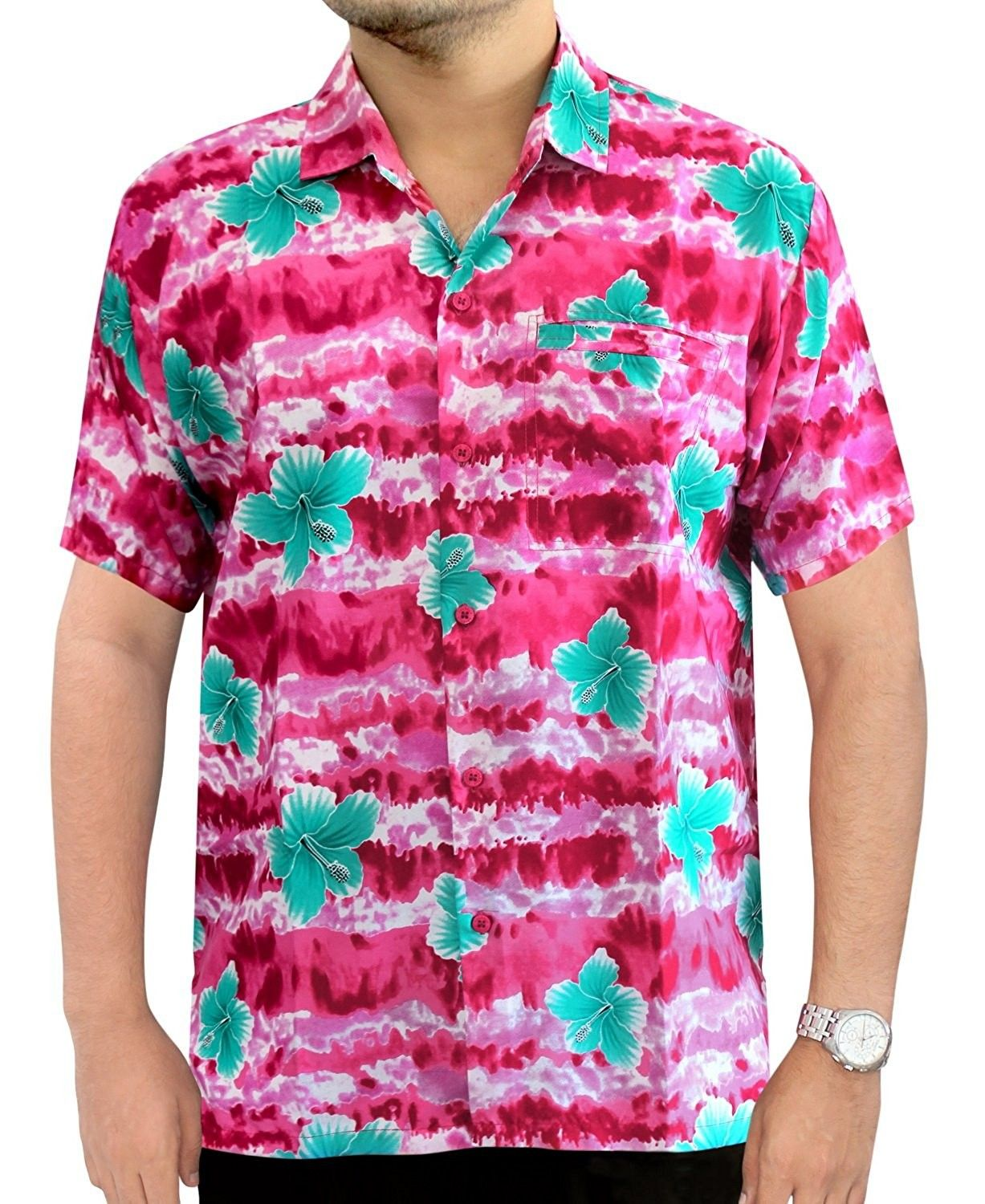 5d13bdd1 Men's Aloha Hawaiian Shirt Short Sleeve Button Down Casual Beach Party Blue  - Pink Blue Hibiscus Flower - CP12M9S3IUV,Men's Clothing, Shirts, ...