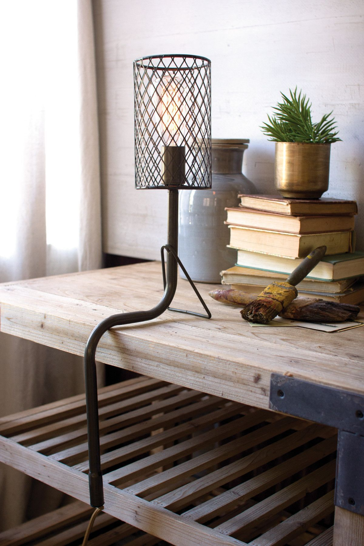 Metal desk lamp with wire mesh shade l m g pinterest metal kalalou metal desk lamp with wire mesh shade allows you to indulge in your favorite book perfect way to relax after a long working day keyboard keysfo Image collections