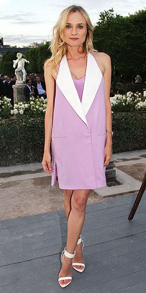 Diane Kruger In an innovative purple 3.1 Phillip Lim Dress and minimalist Givenchy Heels
