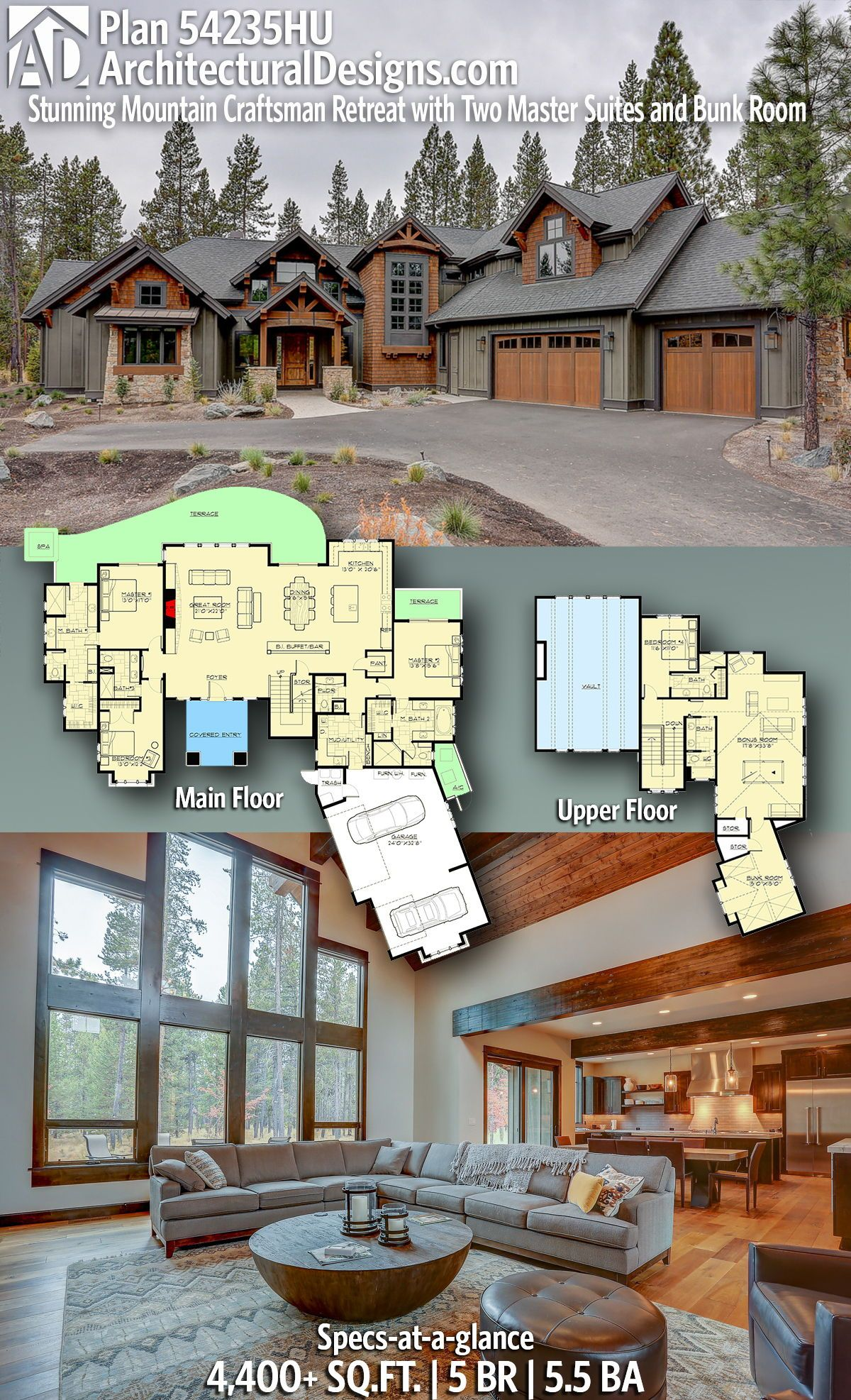 Plan 54235hu Stunning Mountain Craftsman Retreat With Two Master Suites And Bunk Room Rustic House Plans Craftsman House Plans New House Plans