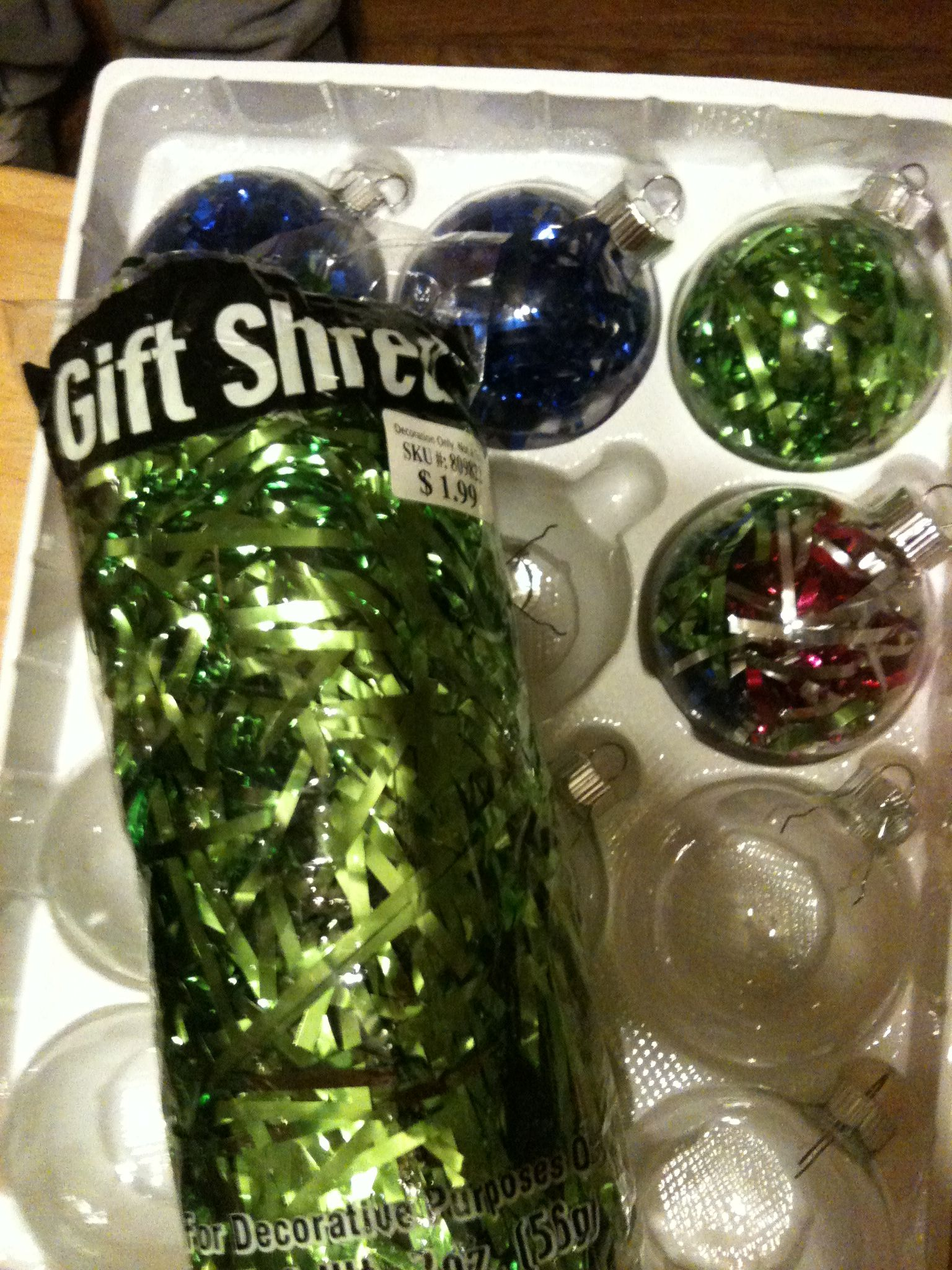 Christmas Tinsel Transparent.Clear Ornaments Filled With Gift Shredded Colorful Tinsel