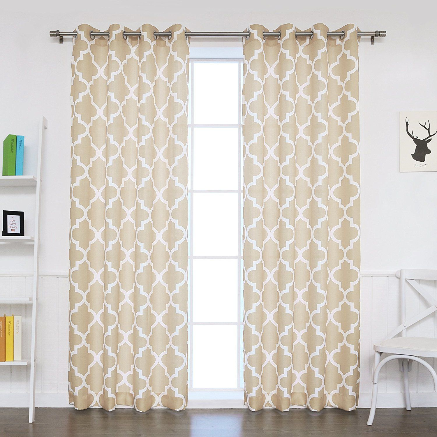 Amazoncom Best Home Fashion Oxford Basketweave Moroccan Print Curtains Stainless