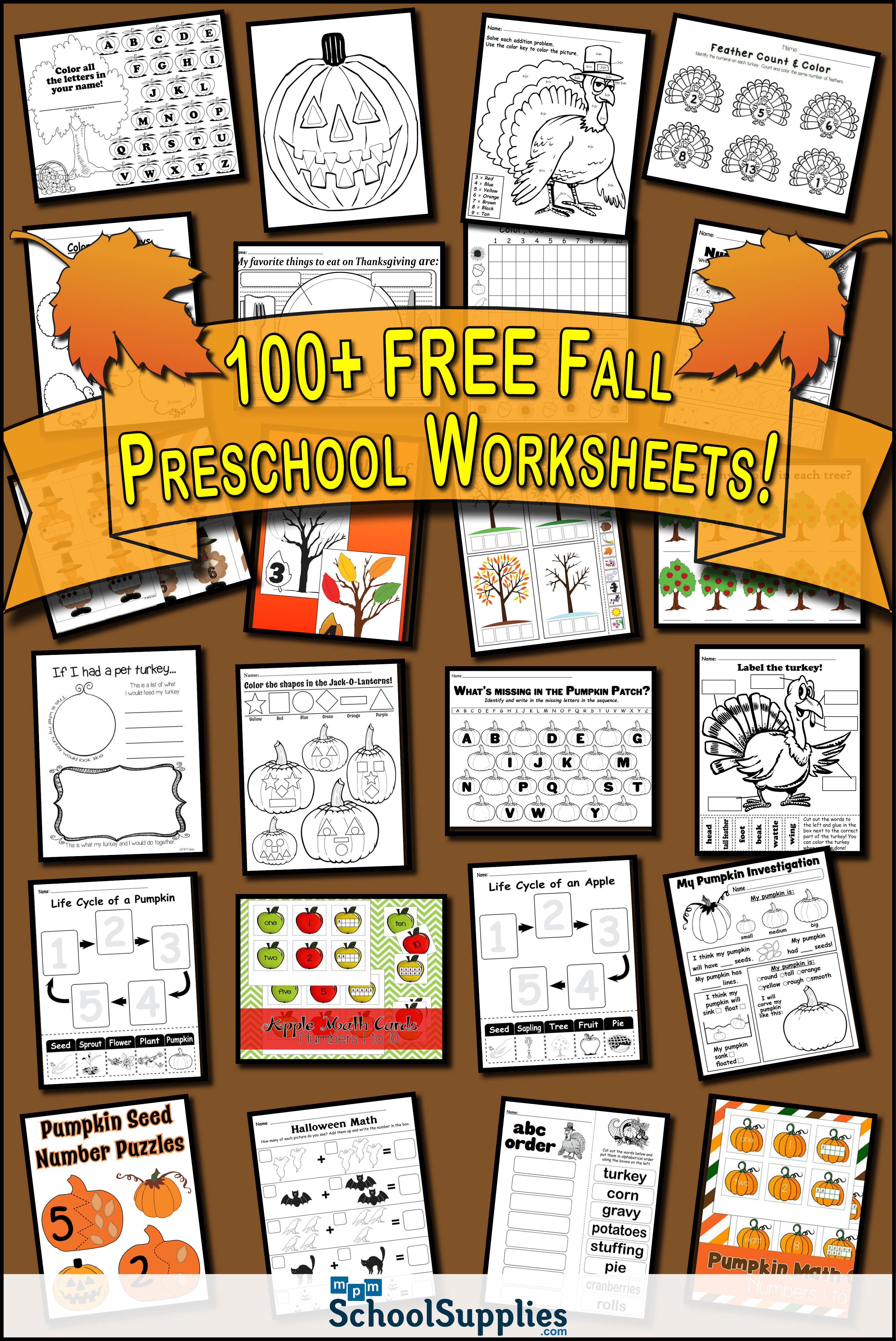 Over 100 Free Fall Preschool Worksheets Our Fall