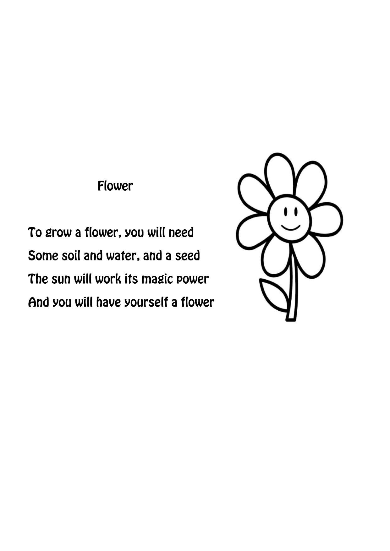 Simple Flower Poem. Kindergarten Spring
