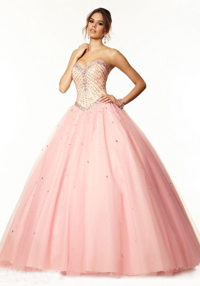 Floor Length Sleeveless Tulle Ball Gown Pink Prom Dress Opdpa0014 ...